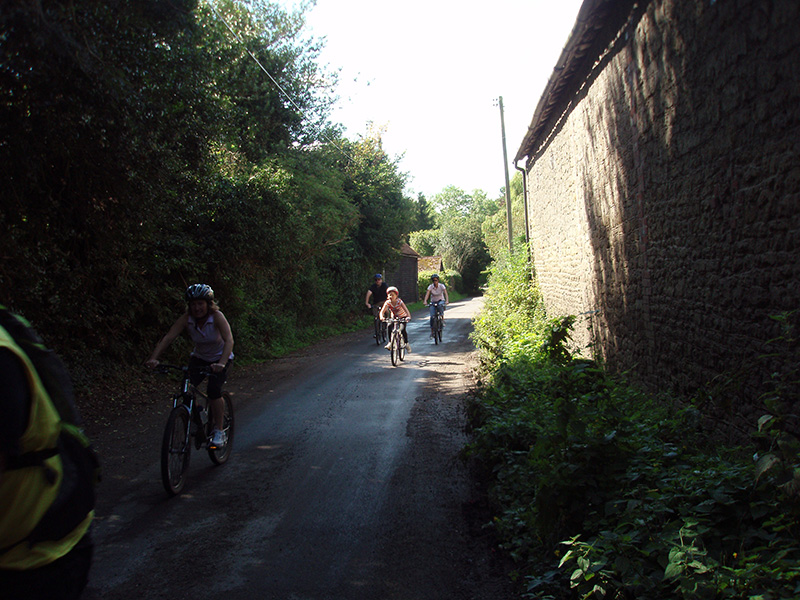 Cyclists hit Stream Lane, Nutbourne in the West Sussex Village's inaugural 9K Fun Run and Cycle Race. Copyright image courtesy of Mr Jim Hool)